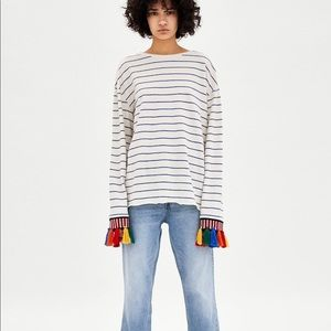 Zara EUC L colorful sleeve detail top